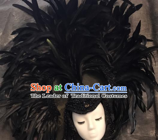 Top Grade Handmade Hair Accessories Feather Headdress Halloween Stage Performance Catwalks Headwear for Women