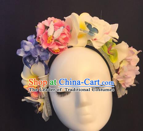 Top Grade Hair Accessories Halloween Stage Performance Pink Flowers Hair Clasp Headwear for Women