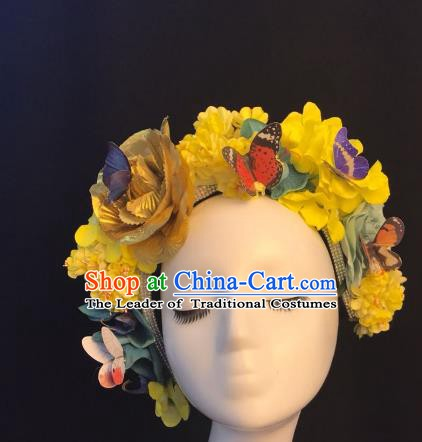 Top Grade Hair Accessories Halloween Stage Performance Yellow Flowers Hair Clasp Headwear for Women
