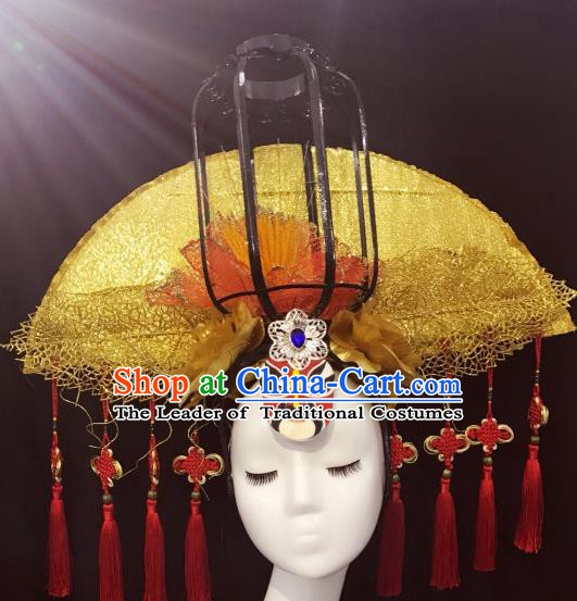 Top Grade China Style Deluxe Palace Hair Accessories Fan-shape Headdress Halloween Stage Performance Headwear for Women