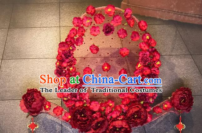 Top Grade China Ancient Palace Hair Accessories Red Flowers Hair Crown Halloween Stage Performance Headdress for Women