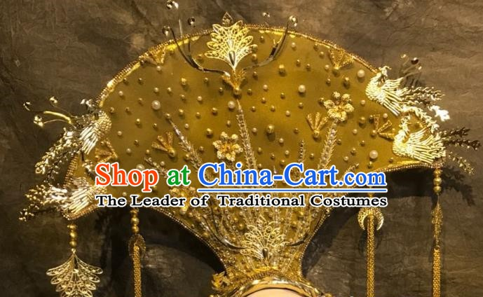 Top Grade China Ancient Deluxe Palace Hair Accessories Golden Phoenix Coronet Headdress Halloween Stage Performance Headwear for Women