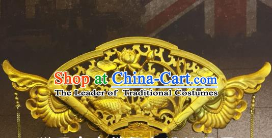 Top Grade China Hair Accessories Golden Fish Lotus Phoenix Coronet Stage Performance Ancient Palace Headdress for Women