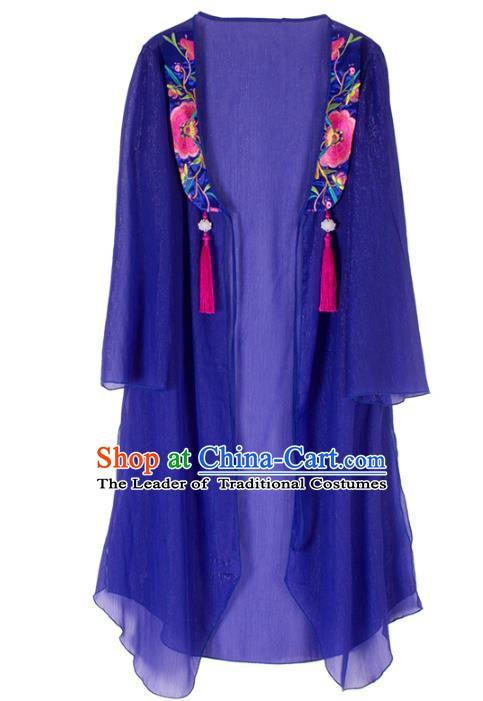 Traditional China National Costume Chinese Tang Suit Embroidered Blue Cardigan for Women