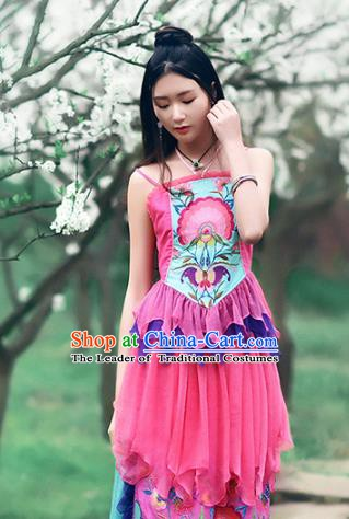 Traditional China National Costume Pink Camisole Chinese Tang Suit Embroidered Stomachers Vests for Women