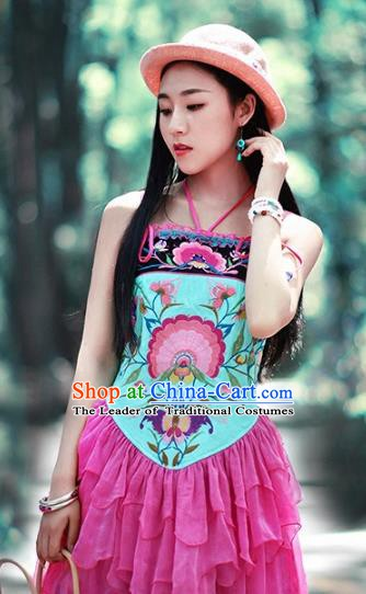 Traditional China National Costume Tang Suit Camisole Chinese Embroidered Sun-top Vests for Women