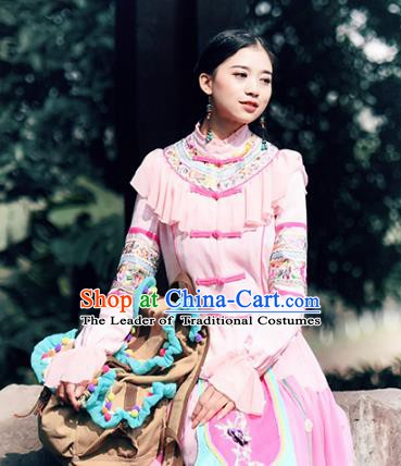 Traditional China National Costume Pink Blouse Chinese Tang Suit Embroidered Shirts for Women