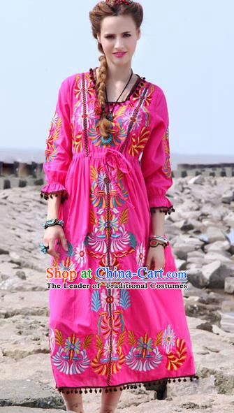 Traditional China National Costume Tang Suit Pink Dress Chinese Embroidered Dresses for Women