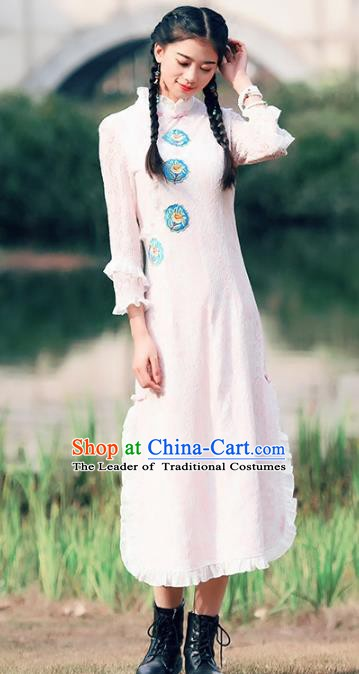 Traditional China National Costume Tang Suit Pink Lace Qipao Dress Chinese Embroidered Cheongsam for Women