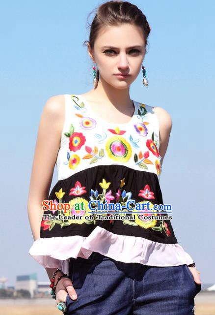 Traditional China National Costume Tang Suit Camisole Chinese Embroidered Vests for Women