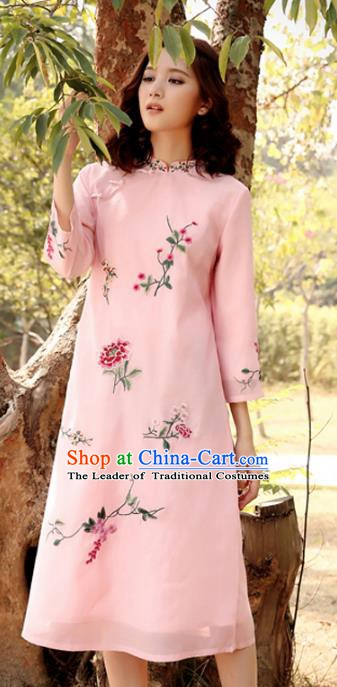 Traditional China National Costume Tang Suit Qipao Dress Chinese Embroidered Pink Cheongsam for Women