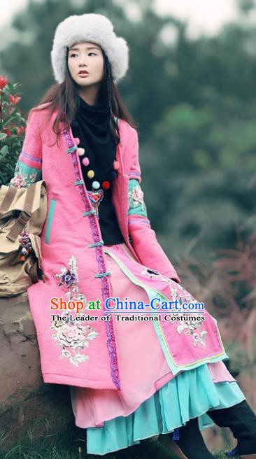 Traditional China National Costume Tang Suit Rosy Dust Coat Chinese Embroidered Coats for Women