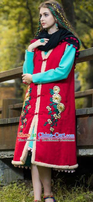 Traditional China National Costume Tang Suit Cotton-padded Vests Chinese Embroidered Long Waistcoat for Women