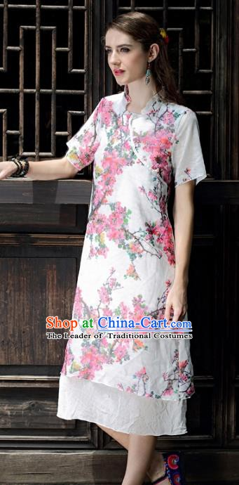 Traditional China National Costume Printing Cheongsam Dress Chinese Tang Suit Qipao for Women