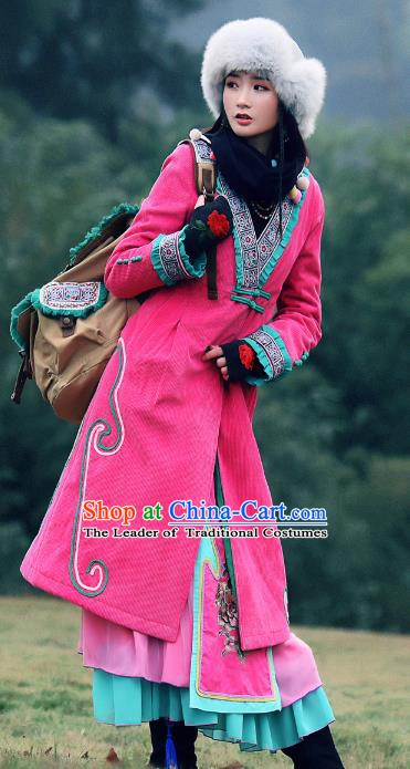 Traditional China National Costume Chinese Tang Suit Pink Dust Coats for Women