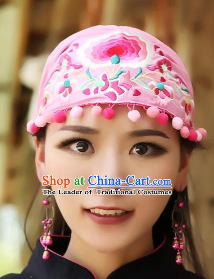 Traditional China National Hair Accessories Chinese Embroidered Pink Hats Kerchief for Women