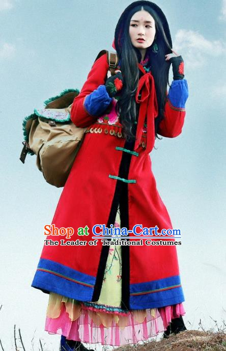 Traditional China National Costume Chinese Tang Suit Embroidered Red Dust Coats for Women