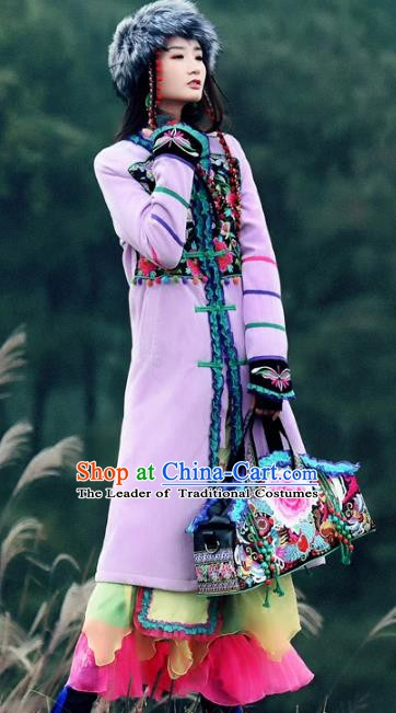Traditional China National Costume Chinese Tang Suit Embroidered Lilac Dust Coats for Women