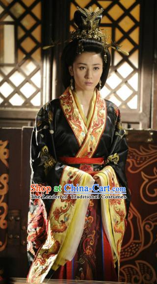 Traditional China Warring States Period Wu State Empress Embroidered Replica Costume for Women