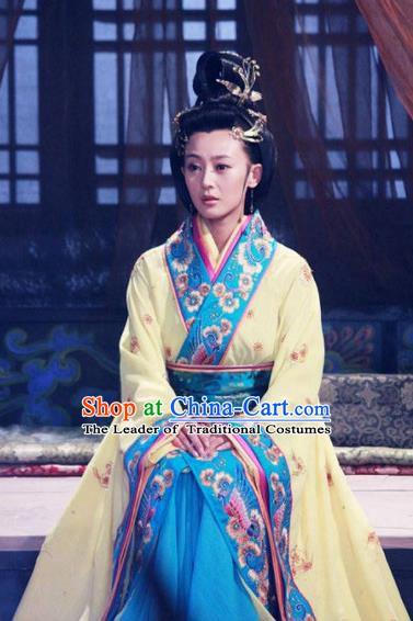 Traditional Chinese Ancient Warring States Period Wu State Imperial Consort Xi Shi Embroidered Replica Costume for Women