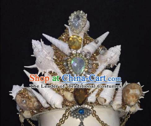 Top Grade Handmade Hair Accessories Shell Hair Crown Stage Performance Headdress for Women