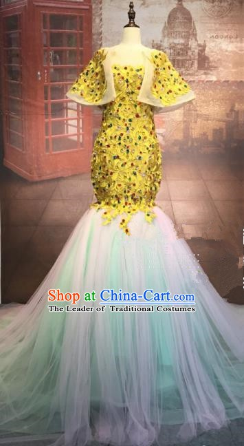 Top Grade Stage Performance Costume Modern Dance Mermaid Dress Catwalks Golden Full Dress for Women