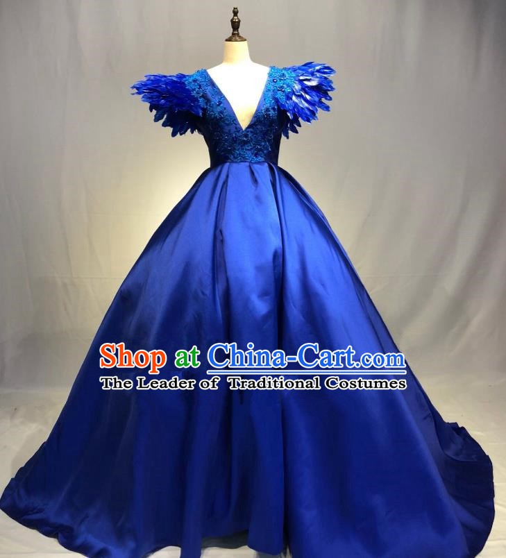 Top Grade Stage Performance Costume Modern Dance Blue Dress Catwalks Full Dress for Women