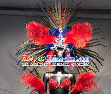 Top Grade Handmade Accessories Brazilian Carnival Costumes Red Feather Headdress and Wings for Women