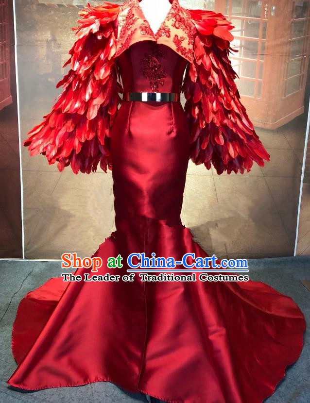 Top Grade Stage Performance Costume Modern Dance Red Cheongsam Catwalks Mermaid Full Dress for Women