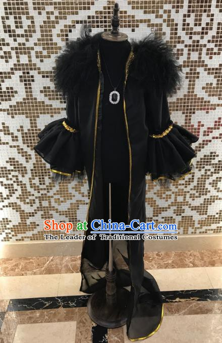 Top Grade Children Stage Performance Costume Catwalks Black Clothing for Kids