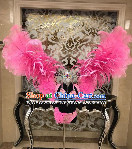 Top Grade Children Stage Performance Costume Catwalks Pink Bikini and Feather Wings for Kids