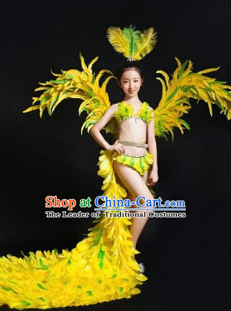 Top Grade Children Stage Performance Costume Modern Dance Feather Bikini Dress and Wings for Kids