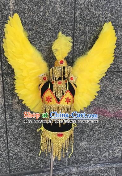 Top Grade Children Stage Performance Costume Modern Dance Catwalks Yellow Feather Bikini Dress and Wings for Kids