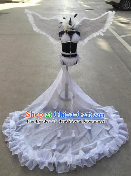 Top Grade Children Stage Performance Costume Modern Dance White Feather Bikini Dress and Wings for Kids