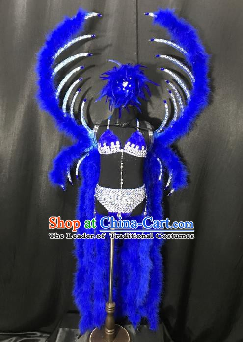 Top Grade Children Stage Performance Costume Catwalks Blue Feather Bikini Dress with Wings for Kids