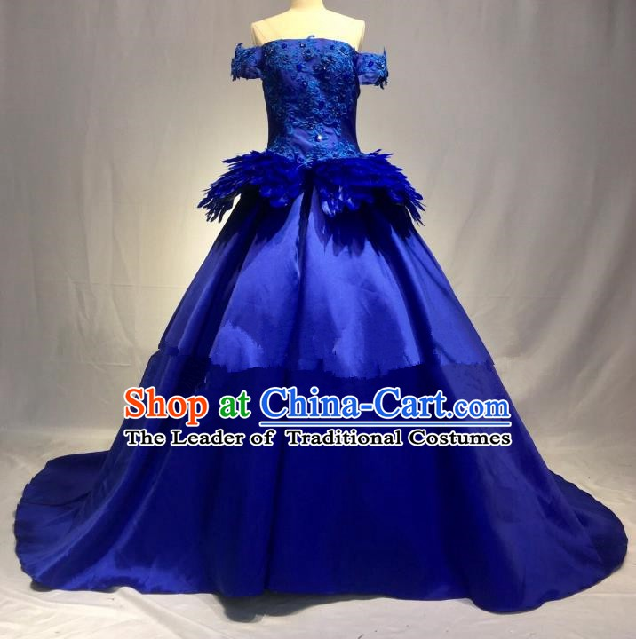Top Grade Stage Performance Costume Blue Bubble Dress Catwalks Full Dress for Women