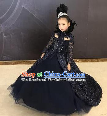 Top Grade Children Stage Performance Costume Girls Black Dress Catwalks Queen Clothing for Kids