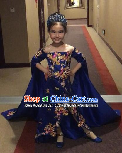 Top Grade Children Stage Performance Costume Girls Blue Cheongsam Dress Catwalks Clothing for Kids