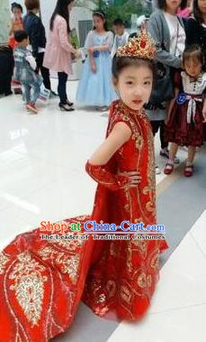 Top Grade Children Stage Performance Costume Girls Red Cheongsam Mullet Dress Catwalks Clothing for Kids