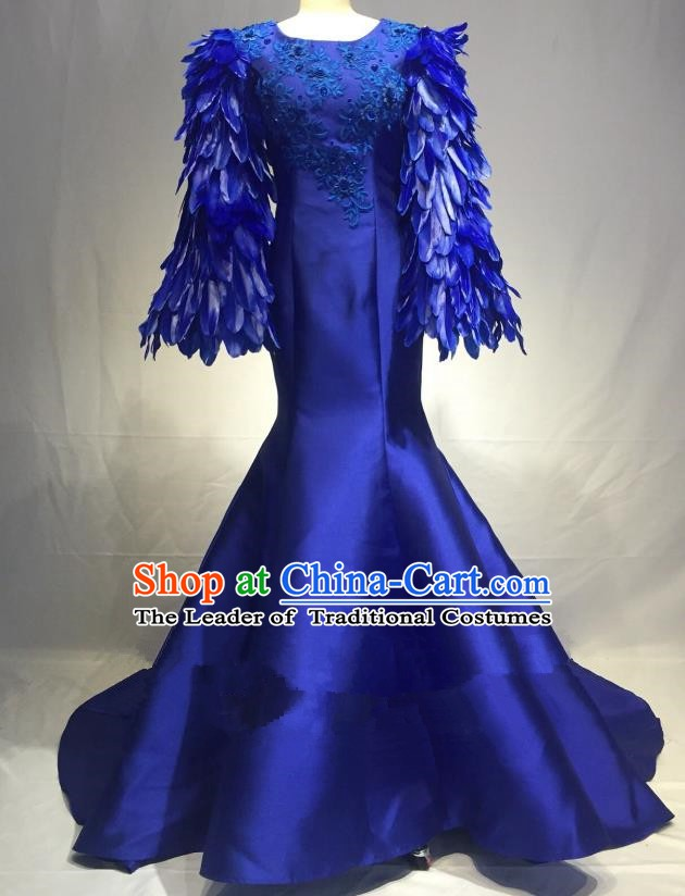 Top Grade Stage Performance Costume Modern Dance Blue Feather Sleeve Mermaid Dress Catwalks Full Dress for Women