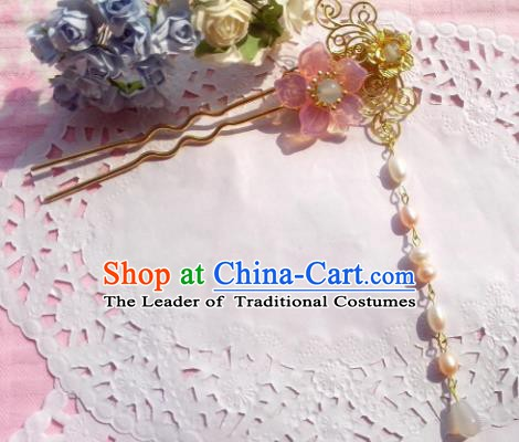 Traditional Chinese Ancient Hair Accessories Pearls Tassel Hairpins Hair Jewellery Headwear for Women