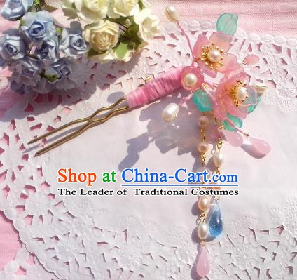 Traditional Chinese Ancient Hair Accessories Pink Flowers Hairpins Hair Jewellery Headwear for Women