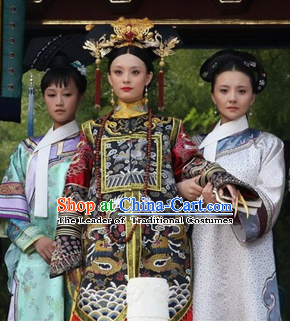 Ancient Chinese Qing Dynasty Manchu Imperial Costumes Empress Clothing Ci Xi Garment