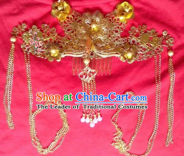 Traditional Chinese Ancient Hair Accessories Blueing Hairpins Tassel Phoenix Coronet Headwear for Women