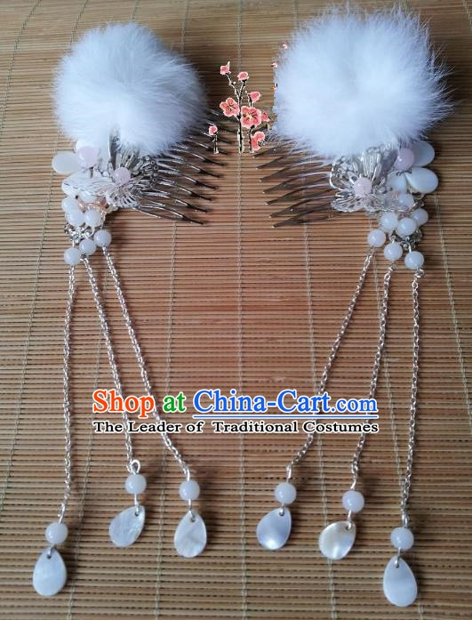 Traditional Chinese Ancient Hair Accessories Hairpins White Hair Combs for Women