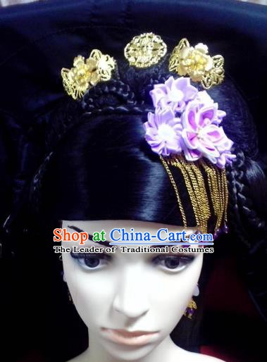 Traditional Chinese Ancient Hair Accessories Hairpins Flowers Tassel Hair Clips for Women