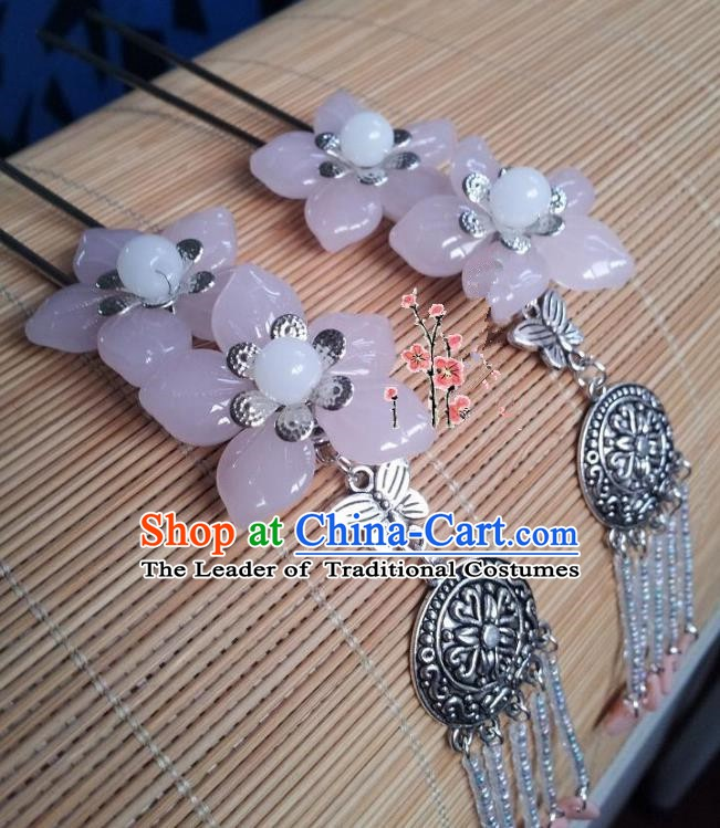 Traditional Chinese Ancient Hair Accessories Hairpins Pink Flowers Tassel Hair Clips for Women