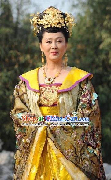 Ancient Chinese Tang Dynasty Female Emperor Queen Wu Zetian Hanfu Dress Replica Costume for Women