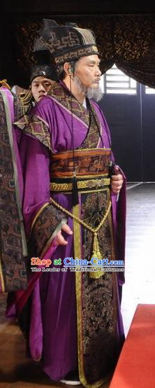 Ancient Chinese Spring and Autumn Period Wu State Prime Minister Replica Costumes for Men