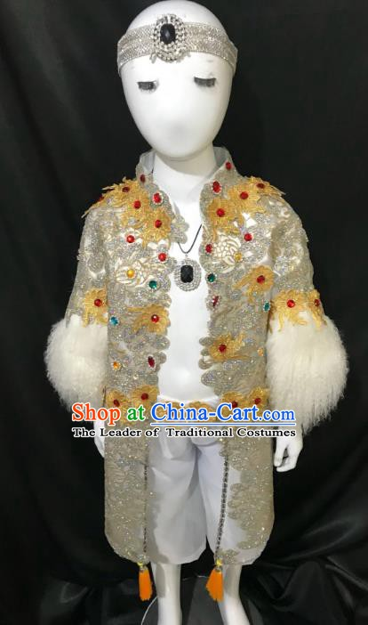 Top Grade Children Stage Performance Costume Catwalks Modern Dance Clothing and Headwear for Kids